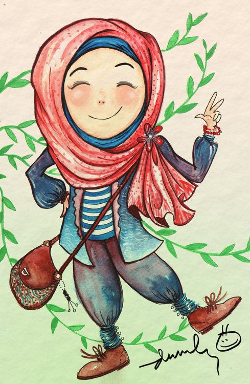 Koleksi Gambar Kartun Hijab Lucu Untuk Ucapan Mukena Rangrang
